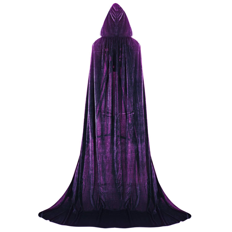 Labellevie Largo Capa con Capucha Terciopelo Disfraz de Halloween para Mujeres Hombres Halloween Fiesta Disfraces