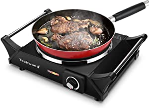 """Techwood Hot Plate Portable Electric Stove 1500W Countertop Single Burner with Adjustable Temperature & Stay Cool Handles, 7.5"""" Cooktop for Dorm Office/Home/Camp, Compatible for All Cookwares"""