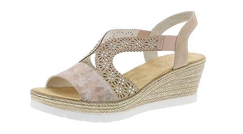 037dde248d Rieker 61916 Women Wedge Sandals, Summer Shoes, Flat: Amazon.co.uk: Shoes &  Bags