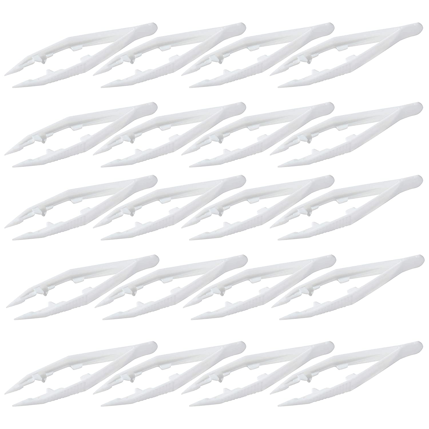 Plastic Bead Tweezers - 20-Pack Craft Tweezers, 4.3-Inch White Plastic Forceps for Fuse Bead Kids DIY