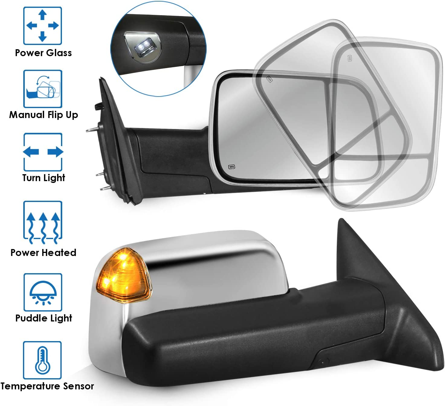SCITOO Towing Mirrors Fit for 2009-2016 Ram 1500 2500 3500 Pickup Tow Mirrors Pair Set Driver Passenger Black Housing Power Adjusted Heated Side View Mirrors