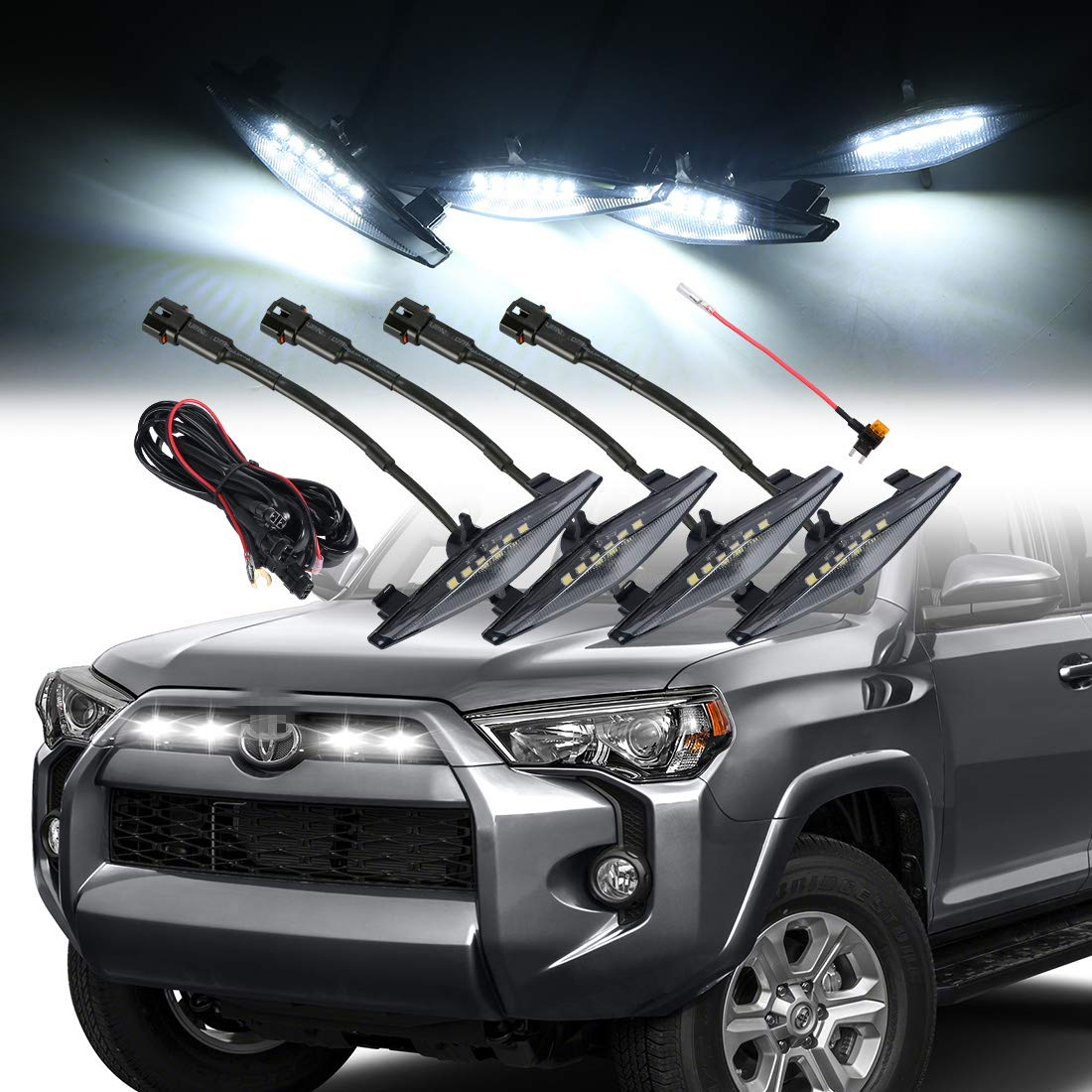 Including SR5 TRO Pro (Smoked shell white lights) TRD off-road Limited 4 PCS Led Smoked Grille Lights Kits for Toyota 4Runner TRD Pro 2014-2019