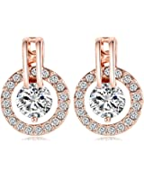 18k Rose Gold Plated Circle Halo Stud Earring with Swarovski Crystal Valentine's Jewelry Gift