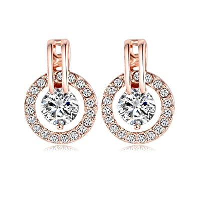 Amazoncom 18k Rose Gold Plated Circle Halo Stud Earring with