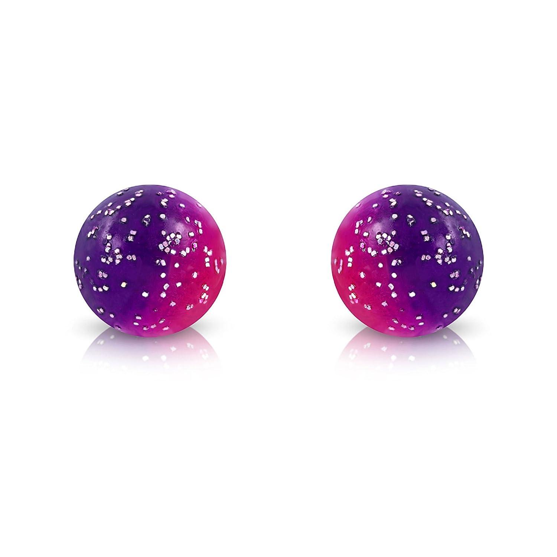 JK-TTE004 Pure316 Kids 8mm Glitter Gradient Bead Ball Stud Earrings in 316L Stainless Steel