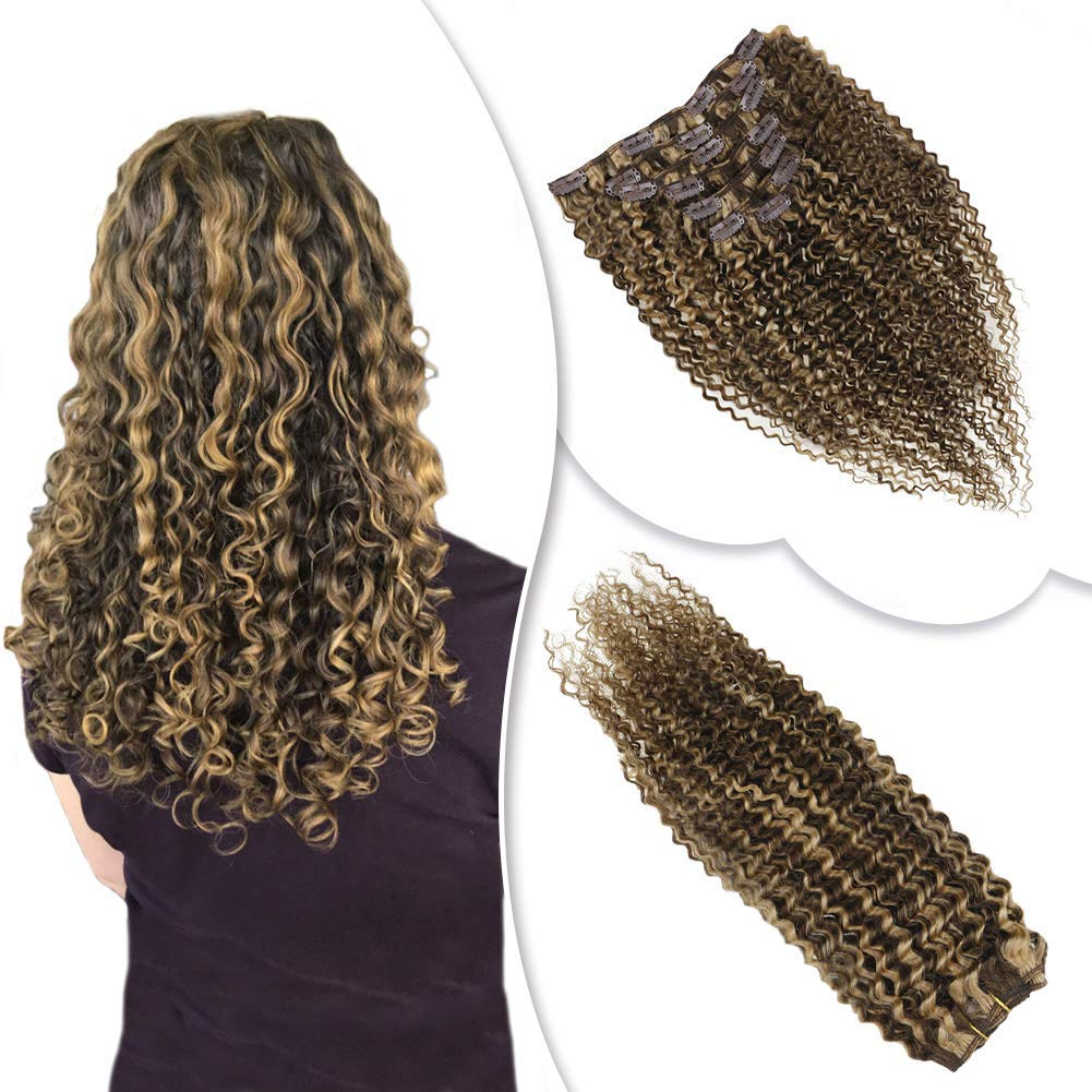 RUNATURE #4/27 Highlights Kinky Curly Clip in Human Hair Extensions 18'' Chocolate Brown and Strawberry Blonde Piano Color Clip in Human Hair Weave Extensions 100g/7pcs by RUNATURE