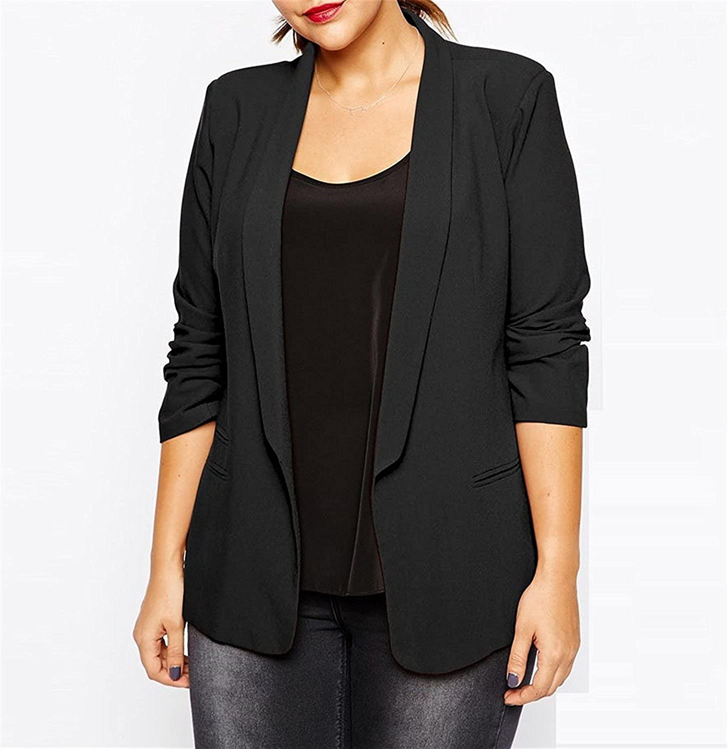 Sonder Blazer Women Plus Size Black Red Autumn and Jackets Coat Solid Casual Blazer Business Suits 5xl 6xl at Amazon Womens Clothing store: