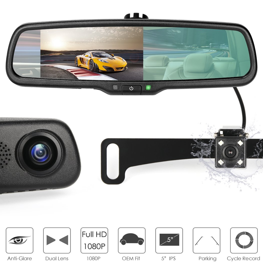 5 inch 1080P Rear View Mirror Dash Camera Video Recorder Parking Monitor for Car with License Plate Backup Camera Dual Lens Auto-Dimming Waterproof 170 Degrees Night Vision by AUTOWINGS