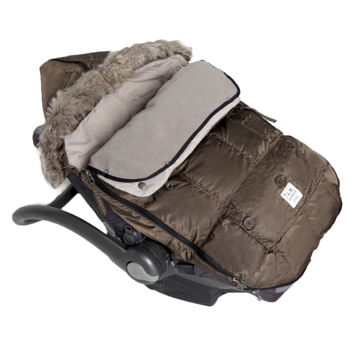 7AM Enfant ''Le Sac Igloo'' Footmuff, Converts into a Single Panel Stroller and Car Seat Cover - Café, Large