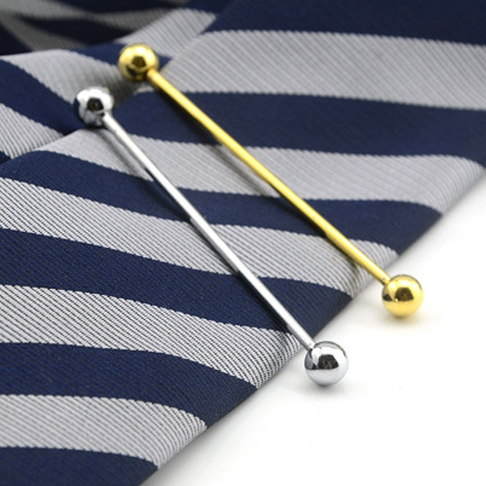 Vococal 2 Stk Herren Runder Kopf Stil Shirt Collar Clip Bar PIN Brosche Silber Gold