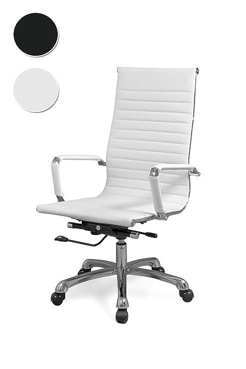 Due-home Silla de Oficina, sillón Giratorio para despacho o Oficina, Medidas: 57x104x66cm ↗, Boss (Blanco)