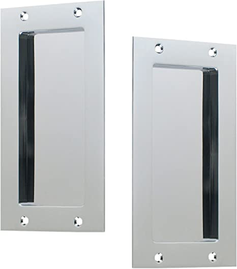 1 Set-Flush Pull for Pocket Door with Privacy function-Polished Chrome