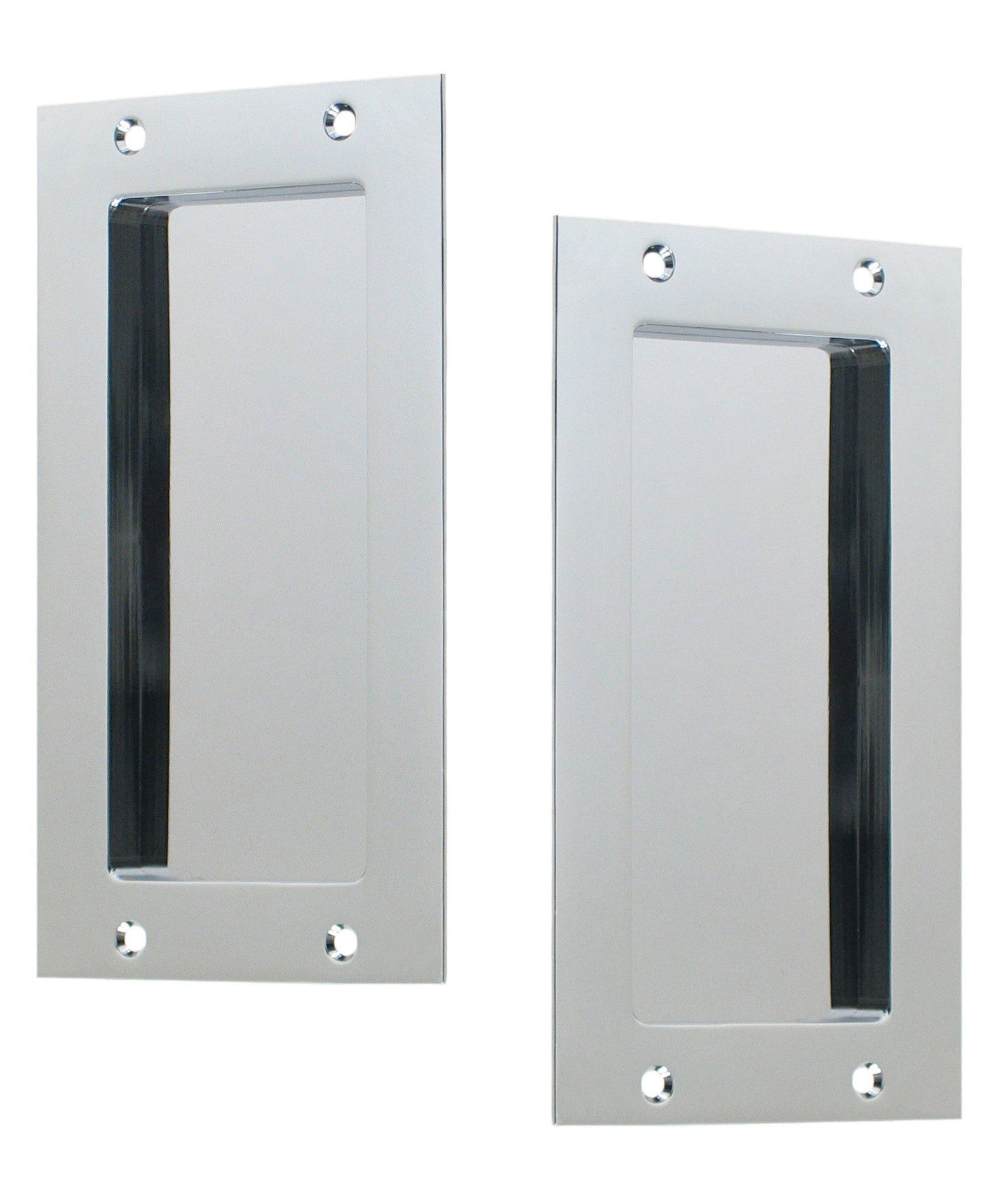 Anacapa by FPL - Solid Brass Modern Pocket Door Hardware in Passage - Hall / Closet Function - Polished Chrome