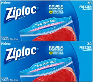 Ziploc Freezer Bags with New Grip 'n Seal Technology, Gallon, 30 Count, Pack of 4 (120 Total Bags)