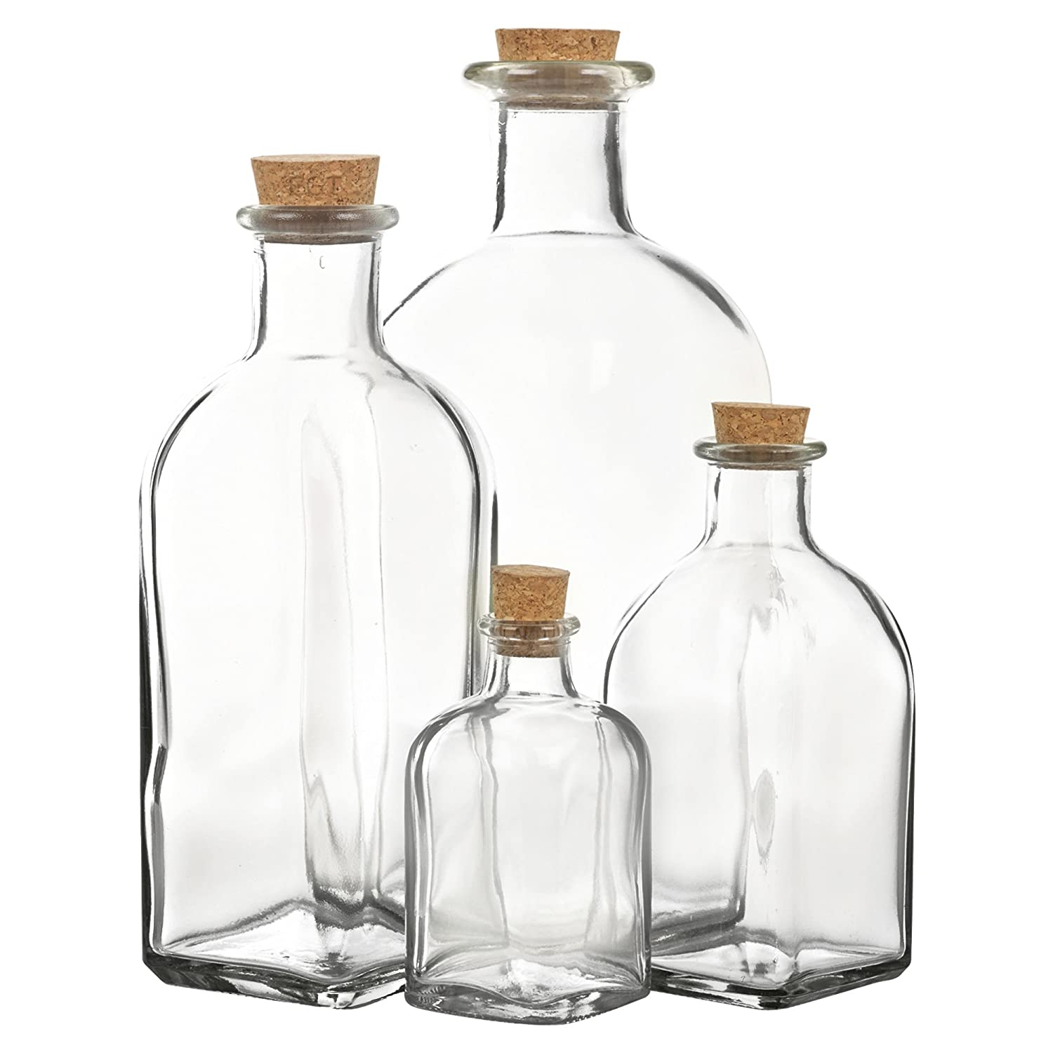 Eg Homewares Glass Storage Bottle Jars Vials With Cork Stopper Lid