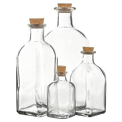 Botellas de cristal con tapón de corcho para almacenamiento, juego de 3 o 6 unidades, vidrio, Jar Size: 100ml - Set of 3