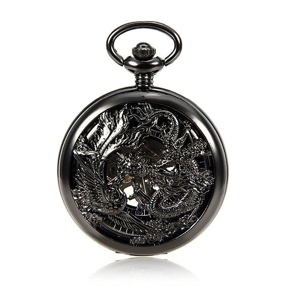 Steampunk de esqueleto único tradicional Chinses dragón hombres raros mecánica mano viento reloj de bolsillo con