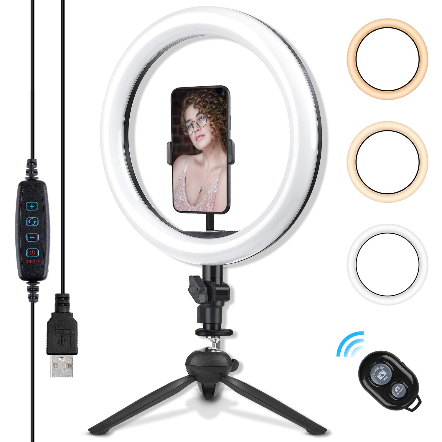 10.2 Inch Ring Light with Stand - Rovtop LED Camera Selfie Light Ring with iPhone Tripod and Phone Holder for Video Photography Makeup Live Streaming by Rovtop
