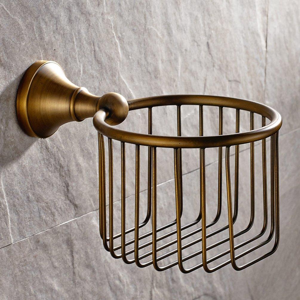GUMA Vintage Antique Brass Finish Toilet Paper Holder Wall Mounted Bath Storage Basket by GUMA