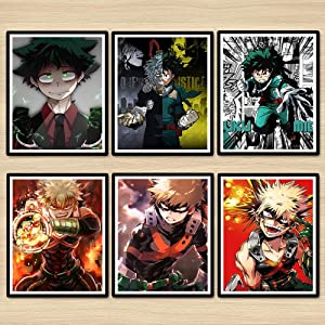 Z Color My Hero Academia Izuku Digital Anime Poster Wall Decor Canvas Art Print,8 x 10 Inches,Set of 6 Pieces,No Frame