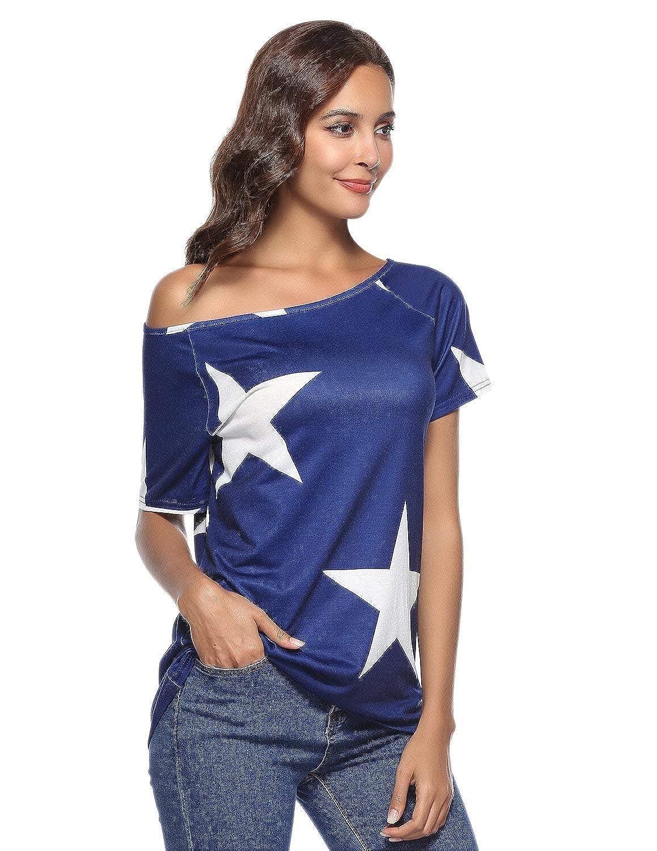 BUOYDM Donna Camicetta Estivo Camicia Casuale T-Shirt Basic in Cotone Senza Spalline Stampate Stella Maglietta Top Estate
