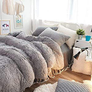 Uozzi Bedding Luxury Plush Shaggy Flannel 3 PC Duvet Cover Set (1 Faux Fur Duvet Cover + 2 Quilted Pillow Shams) Solid,No Inside Filler,Zipper Closure Warm and Soft for Winter (Gray, Queen)