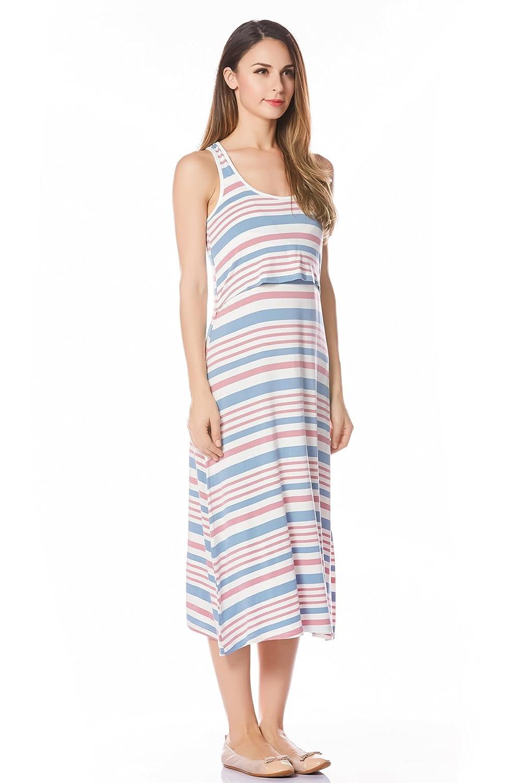 Bearsland Womens Maternity Sleeveless Tank Dress Nursing Breastfeeding Dresses
