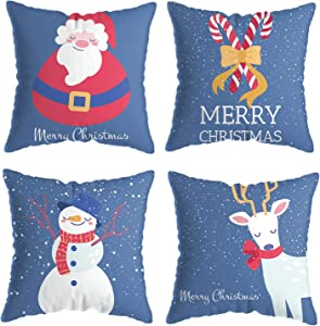 ValueVinylArt Set of 4 Merry Christmas Pillow Covers, Xmas Theme Soft Winter Holiday Throw Pillow Case Cushion Cover Case for Home Sofa Couch Farmhouse Decor 18 x 18 Inch (Blue)