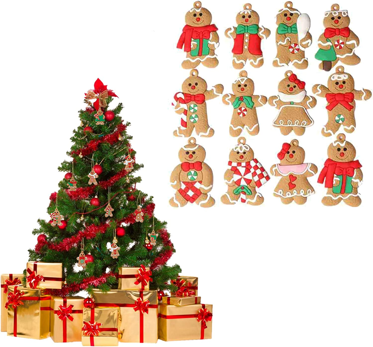 17PCS Christmas Ornaments Gingerbread Man/Snowflake/Bird/Jingle Bell Pendants,Christmas Baubles Balls Christmas Tree Decorations for Home Party Supplies