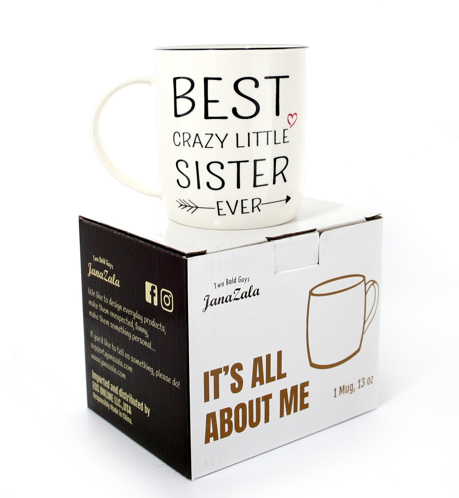 Janazala Best Little Sister Ever Coffee Mug, Crazy Little Sister Gift, Funny Anniversary and Birthday Gifts for Sister from Sister or Brother, Ceramic, 13 Ounce