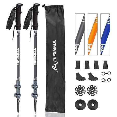 BISINNA Trekking Poles-2 Pack Adjustable Ultra Strong Lightweight Aluminum 7075 Collapsible Hiking Walking Sticks with Cork Grips, Quick Locks, 4 Season All Terrain Accessories and Carry Bag