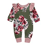 Happy Town Infant Romper Outfits Baby Girls Autumn Long Sleeve Flower Print Green Bodysuit Jumpsuit Clothes (Green, 0-3 Months)