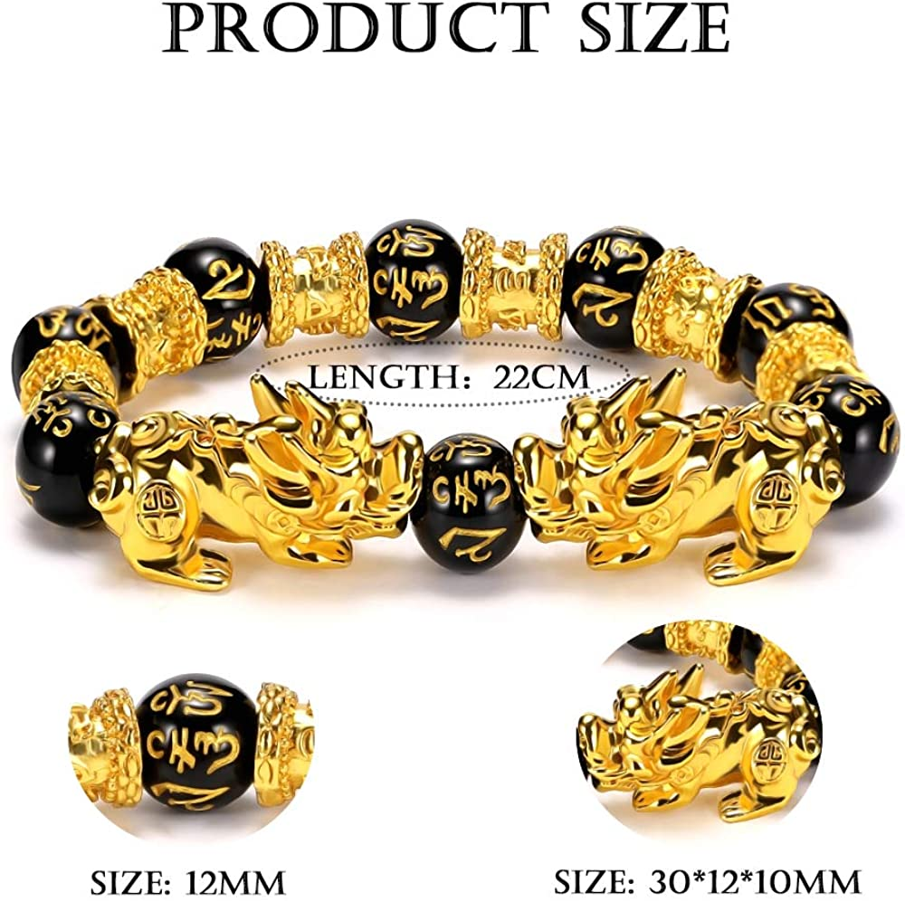 EnjoIt 2Pcs 12mm Hand Carved Mantra Stone Feng Shui Elastic Bracelet Pi Xiu Bracelet Wealth Bracelet for Mens Womens C2239