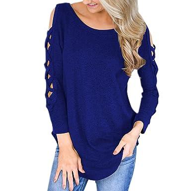 4ba8db8b2cd4a Jolisson T-Shirt Pullover Loose Top Blouse Manche Longue Femme Fille Epaule  Nu Croisé Trou