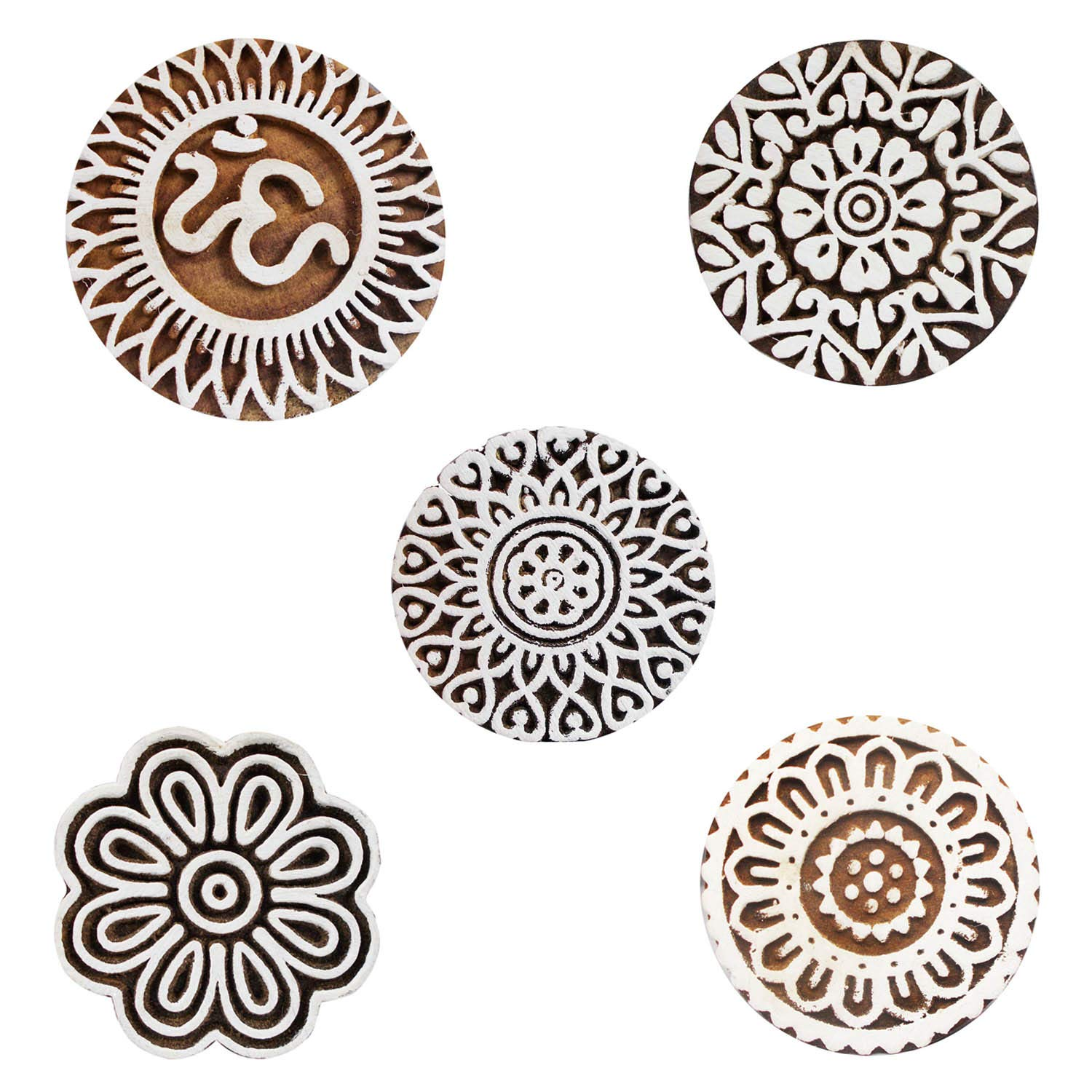 Indian Block Printing Wood Textile Om and Floral Hand Carved Stamp Scrapbook Heena Clay Pottery Craft Pack of 5 Blocks