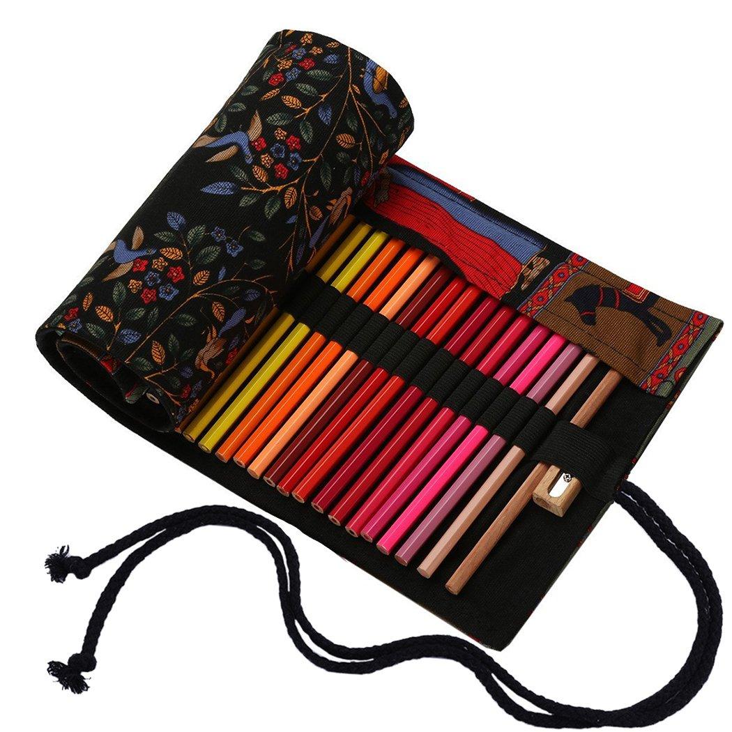 Amoyie - Sacchetto della matita portamatite arrorolabile per 36 matite colorate porta penne tela wrap borse organizer astuccio portapenne scuola cassa del supporto di matita viaggio, nero 36