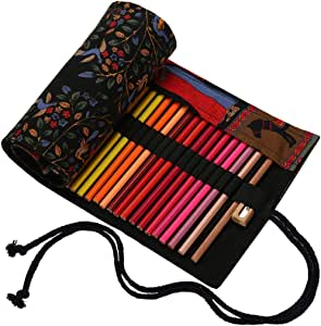 Abaría - Bolso para lápices, Estuche Enrollable para 72 lapices Colores, portalápices de Lona, Bolsa Organizador lápices para Infantil Adulto, Árbol Negro 72 (No Incluyendo los lápices): Amazon.es: Hogar
