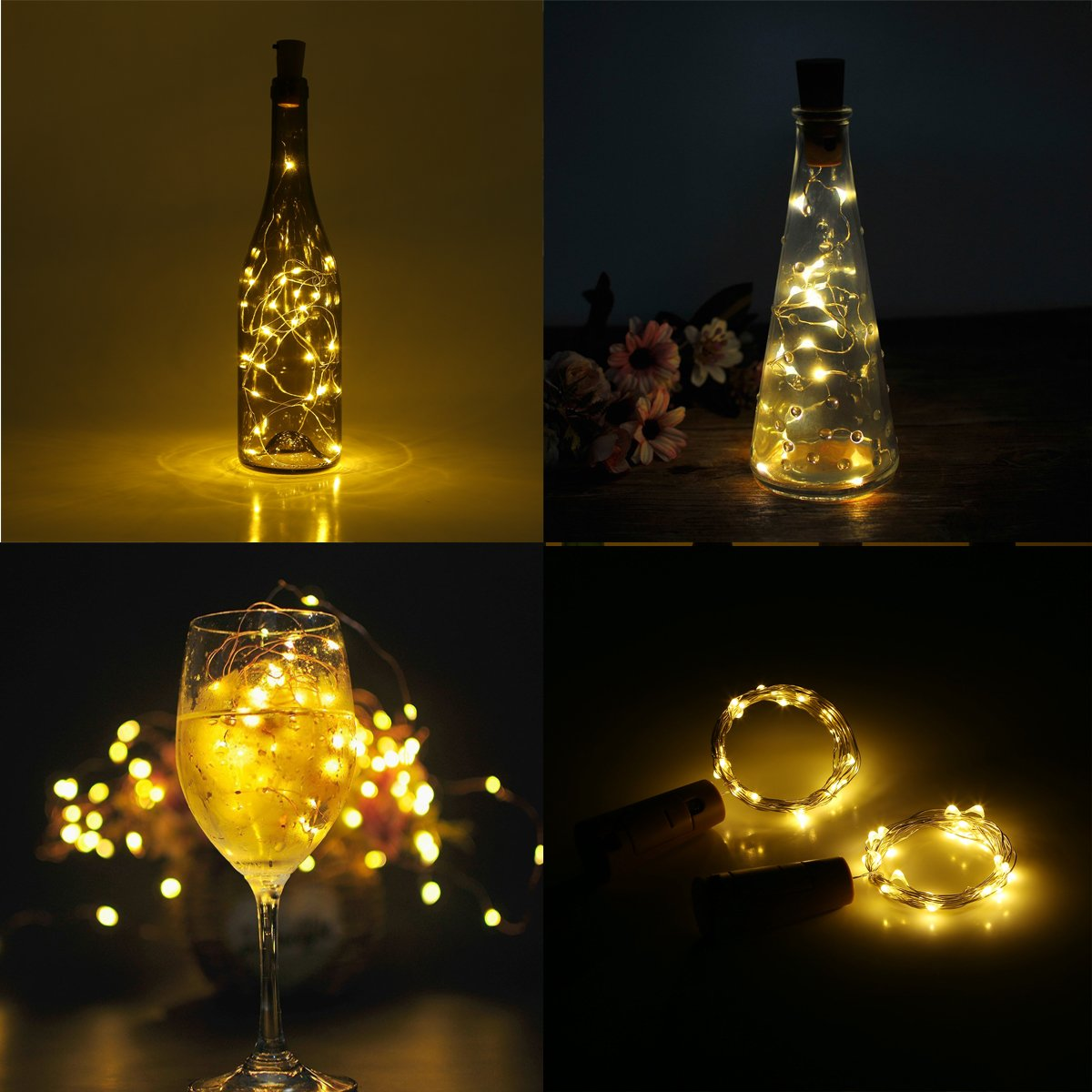 wine lighting. Wine Bottles Cork Lights, FVTLED 6 Pack Copper Wire String Lights 20 LEDs Starry Fairy Light Battery Powered For Bottle DIY, Christmas, Valentine Wedding Lighting