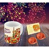 Happy Diwali Superior quality ceramic Mug Capacily (350) ML , Greeting Card, Hand Made Diya by Aart Store