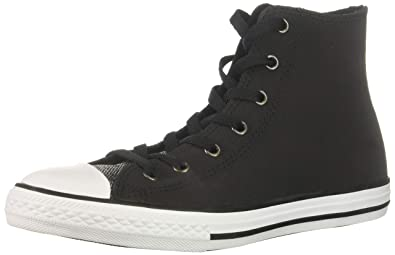 be92ad5baecf Converse Girls  Chuck Taylor All Star Glitter Leather High Top Sneaker Black  White