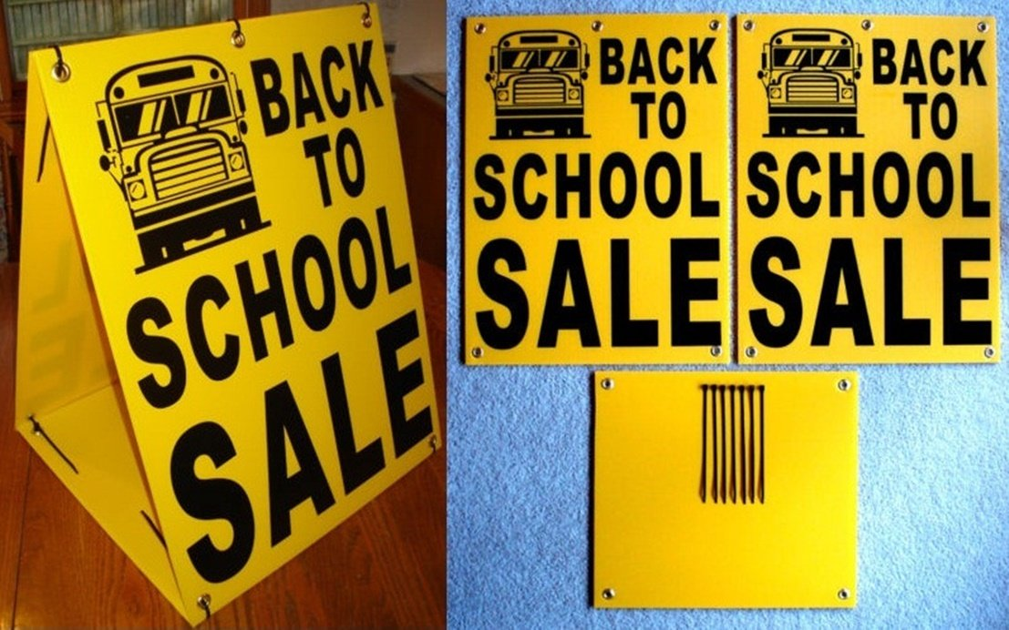 1 Pc Attractive Popular Back to School Sale Sign Plastic Coroplast Store Message Retail Sold Size 18'' x 24'' Sandwich Board by GVGs Shop