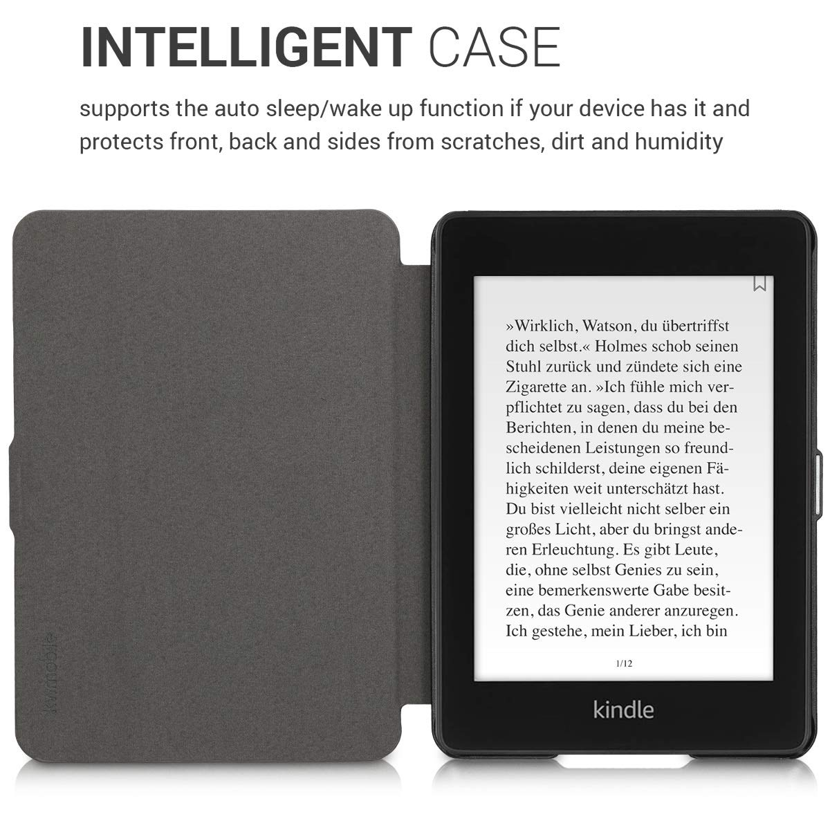 10. Gen - 2018 Grey - Book Style Fabric Protective e-Reader Cover Flip Folio Case kwmobile Case for  Kindle Paperwhite