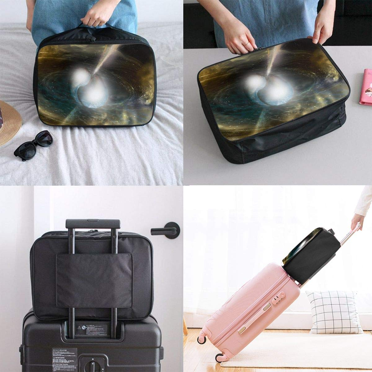 Travel Luggage Duffle Bag Lightweight Portable Handbag Fantasy Black Hole Large Capacity Waterproof Foldable Storage Tote
