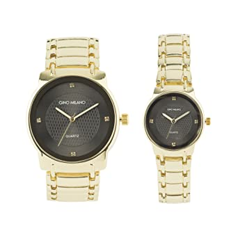 be7b4dc00512 His and Her Watch Sets - 2 Piece Matching Gift Set by Gino Milano with Gift  Box-(Gold)  Amazon.co.uk  Watches