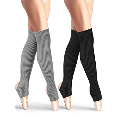 2 Pairs Stirrup Leg Warmers Straight over the Knee Socks 21.65 Inch for Women (Black, Gray): Clothing