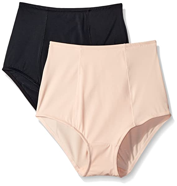 013798c2299e Ellen Tracy Women's Lightweight 2 Pack Brief Shaper Panty, Natural/Black,  Small