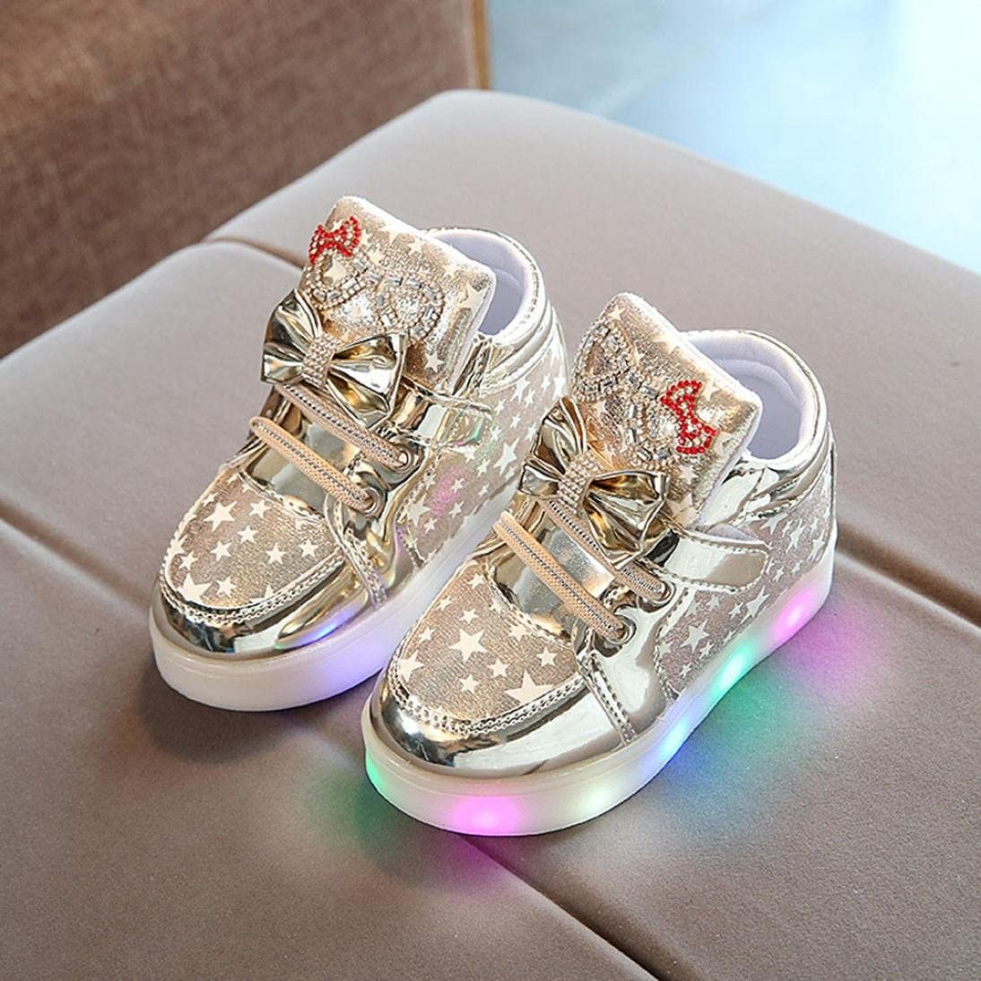 Sunbona Toddler Baby Boys Girls Heart LED Light Up Skate High-Top Sneakers Flat Flashing Luminous Shoes