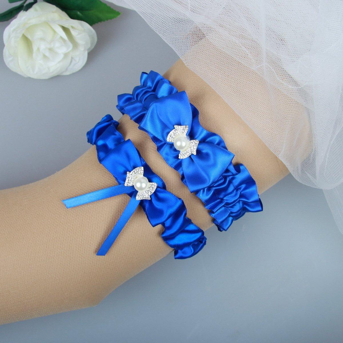 Plus Size Wedding Garters: MerryJuly Royal Blue Wedding Bridal Garter Belt Set Plus