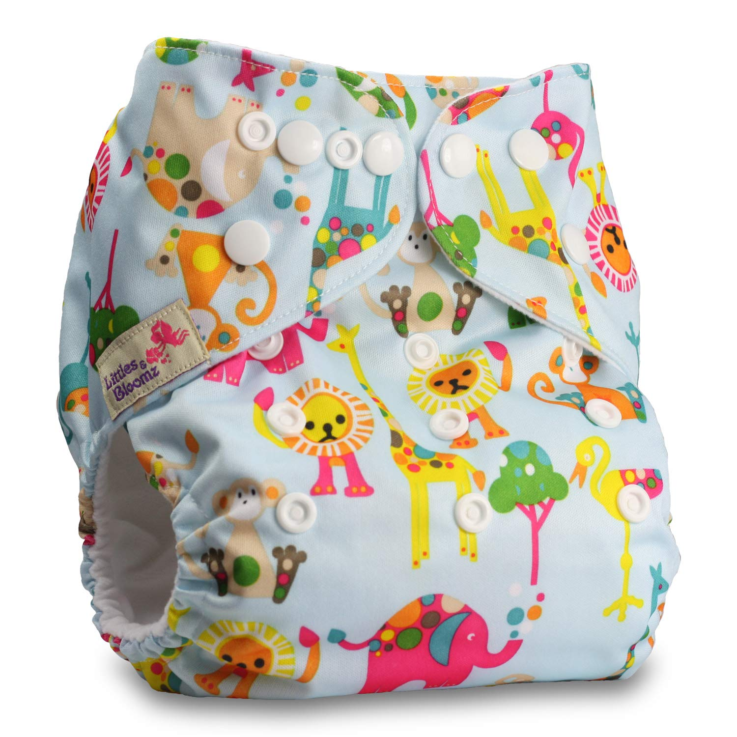 Littles & Bloomz, Reusable Pocket Cloth Nappy, Fastener: Popper, Set of 1, Pattern 25, With 1 Microfibre Insert