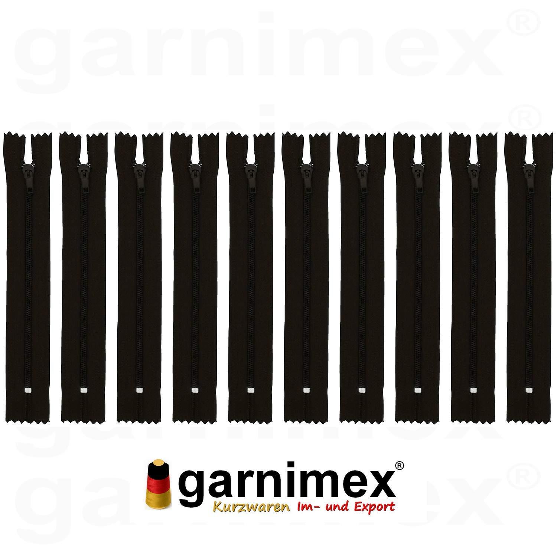 18 cm x 10 Unidades, no Divisible Cremallera garnimex Color marr/ón 35